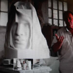 Eppe de Haan in atelier in Italië, 2014